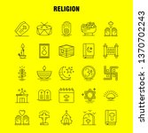 religion line icons set for...