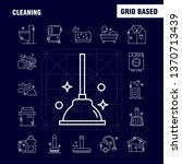 cleaning line icons set for...