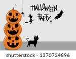halloween holiday greeting card. | Shutterstock .eps vector #1370724896
