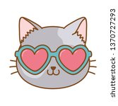 Stock vector cat with heart sunglasses 1370727293