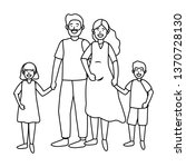 couple with children | Shutterstock .eps vector #1370728130