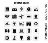 summer beach solid glyph icon...