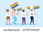 men with rainbow and heart flag ... | Shutterstock .eps vector #1370739629
