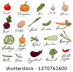 set of elements with hand drawn ... | Shutterstock .eps vector #1370762600