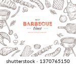 vintage bbq poster. barbeque... | Shutterstock .eps vector #1370765150