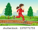 girl running in park... | Shutterstock .eps vector #1370771753