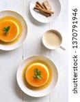 tasty caramel custard pudding...   Shutterstock . vector #1370791946