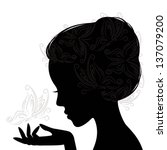 Profile Woman Silhouette With...
