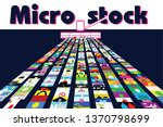 """Text """"Microstock"""" in higher part of composition. RPA in photo stock business: computer program in form of harvester collecting images in virtual space.  - stock vector"""