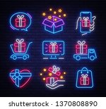 gifts icon set neon. design... | Shutterstock .eps vector #1370808890