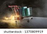 shopping cart with jetpack... | Shutterstock . vector #1370809919