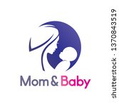 mom and baby in stylized symbol ... | Shutterstock .eps vector #1370843519