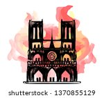"""Notre Dame de Paris on fire. Vector sketch postcard. Tragedy for France culture. Cathedral """"Our lady of Paris"""". French landmark in hand drawing style. Catholic church Silhouette and red flame for news"""