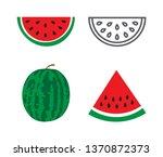 watermelon icons set on white...   Shutterstock .eps vector #1370872373