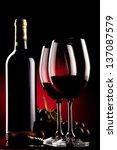 two glasses of wine  bottle ... | Shutterstock . vector #137087579