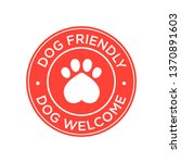 dog friendly icon. red round...   Shutterstock .eps vector #1370891603