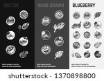 hand drawn blueberry icons set... | Shutterstock .eps vector #1370898800