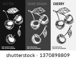 hand drawn cherry icons set... | Shutterstock .eps vector #1370898809