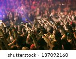 crowd at a music concert ... | Shutterstock . vector #137092160