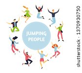 set of happy jumping people in... | Shutterstock .eps vector #1370930750