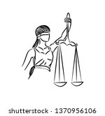 the statue of justice   lady... | Shutterstock .eps vector #1370956106