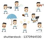 funny cartoon collection of an... | Shutterstock .eps vector #1370964530