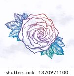 beautiful hand drawn rose... | Shutterstock .eps vector #1370971100