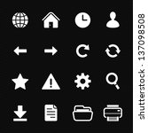 Toolbar Icons and Web Icons with Black Background - stock vector