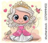 cute cartoon little princess in ... | Shutterstock .eps vector #1370999453