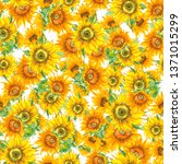 sunflower seamless pattern in... | Shutterstock . vector #1371015299
