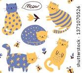 cats pattern childish print.... | Shutterstock .eps vector #1371070526