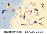 people at beach or seashore... | Shutterstock . vector #1371072326