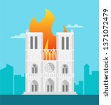 notre dame building is on fire... | Shutterstock .eps vector #1371072479