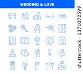 wedding and love line icons set ...