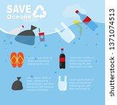save oceans infographics... | Shutterstock .eps vector #1371074513