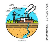 geothermal power plant. dry and ... | Shutterstock .eps vector #1371077726