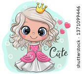 greeting card with cute cartoon ... | Shutterstock .eps vector #1371099446