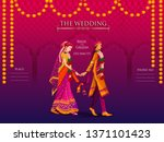indian bride and groom in... | Shutterstock .eps vector #1371101423