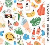 seamless pattern with summer... | Shutterstock . vector #1371109769