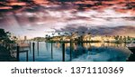 boca raton and city lake on a... | Shutterstock . vector #1371110369