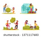 gardening vegetables growing... | Shutterstock .eps vector #1371117683