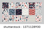 set with abstract pattern.... | Shutterstock .eps vector #1371128930