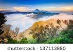 bromo volcano at sunrise... | Shutterstock . vector #137113880