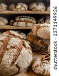 dark rye homemade bread  with...   Shutterstock . vector #1371149936
