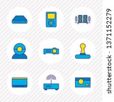 Vector illustration of 9 accessory icons colored line. Editable set of web cam, projector, music player and other icon elements.