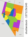 colorful nevada political map... | Shutterstock .eps vector #1371156140