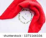 red rag for cleaning on a white ... | Shutterstock . vector #1371166106