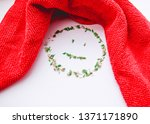 red rag for cleaning on a white ... | Shutterstock . vector #1371171890