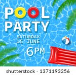 pool or summer party invitation ... | Shutterstock .eps vector #1371193256