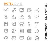 collection of hotel line icons. ... | Shutterstock .eps vector #1371204203